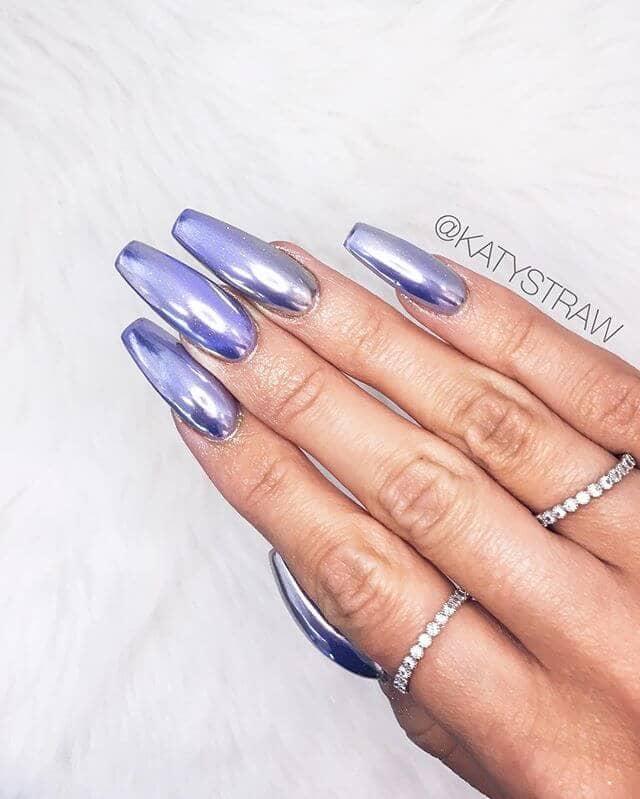 Long Lavender Metallic Nails