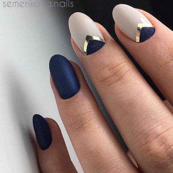 Navy Blue and Gold French Nails