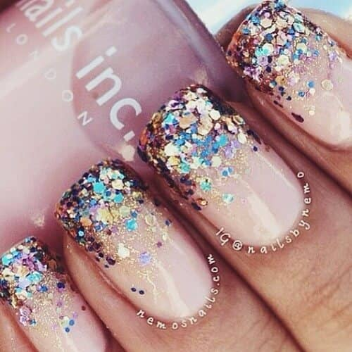 Beige Nails With Chunk Glitter and Gold Tips