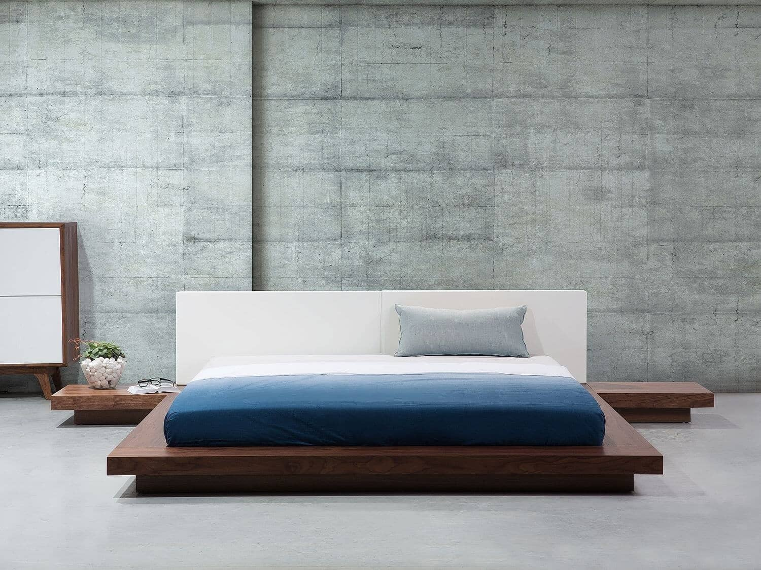 Ultimate Bed Platform With Wood and White Headboard