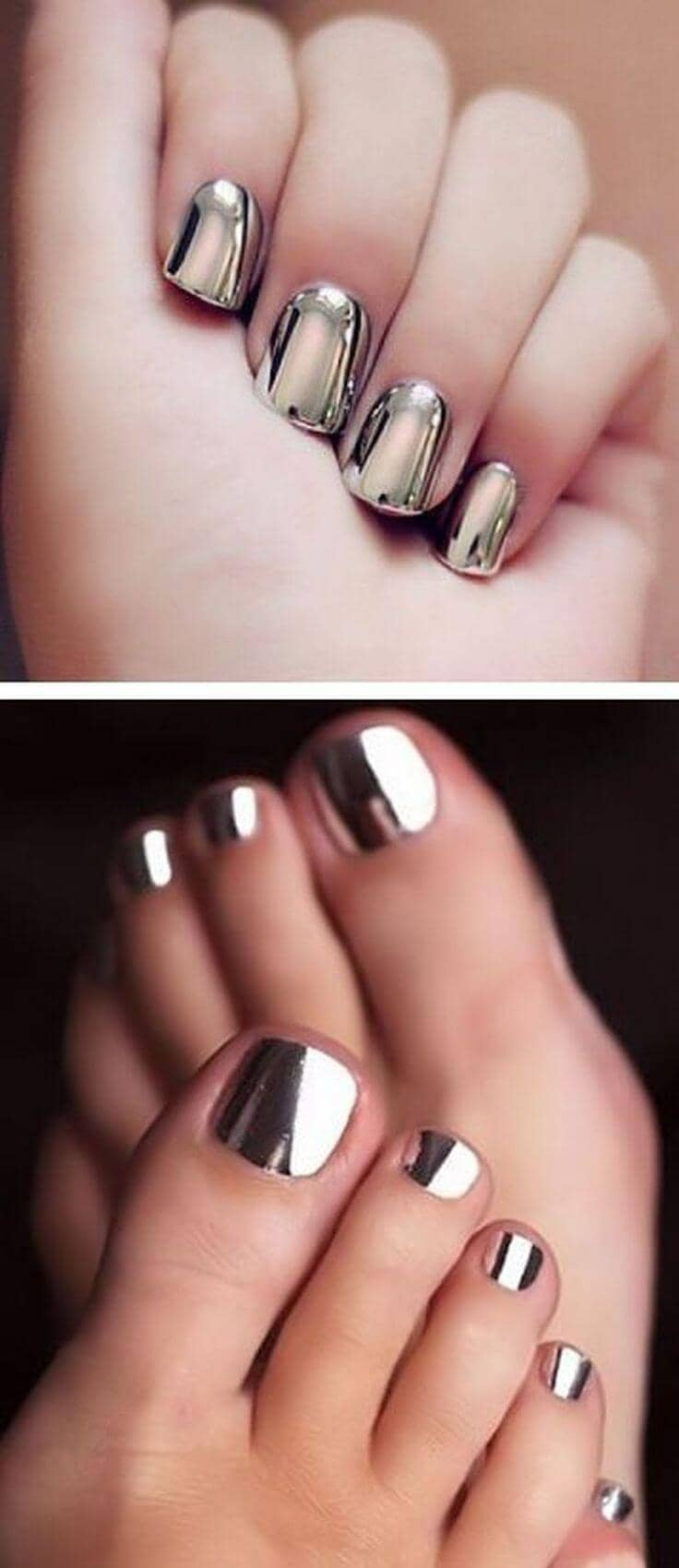 Matching Metallic Silver Toes and Fingers
