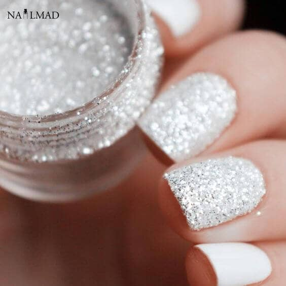 Perfect White Wedding Nails With Silver Glittery Shimmer