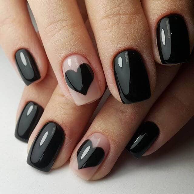 Morticia Addams Valentine's Day manicure