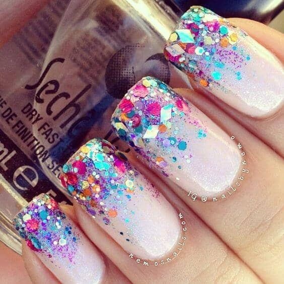 Bold Multicolored Fiesta Glitter Ombre Nails
