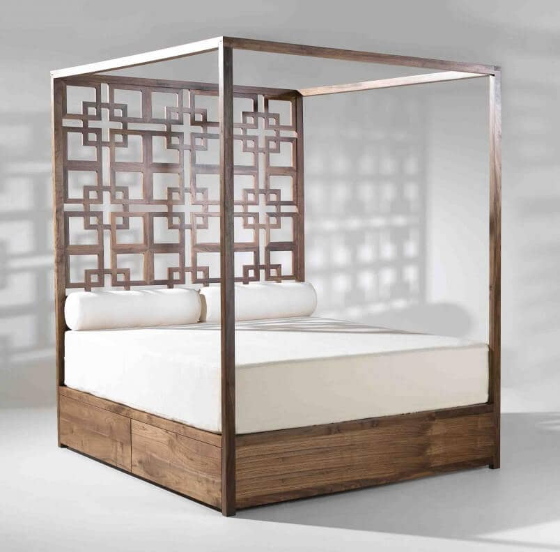 Minimalist Wooden Platform Bed With Asian-inspired Design