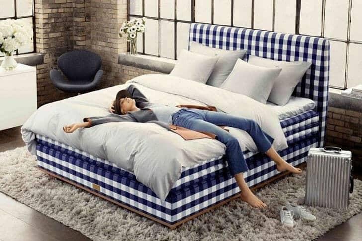 Gorgeous Gingham Fabric Platform Bed