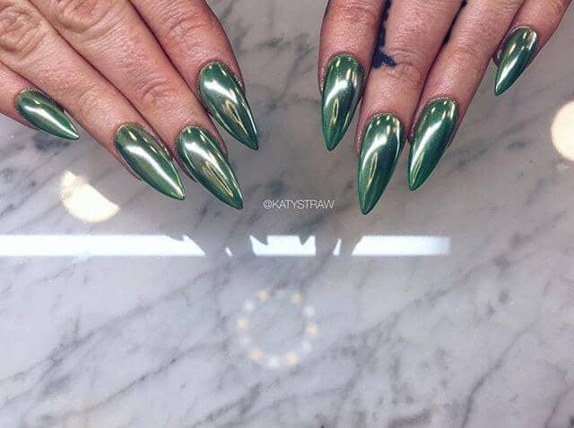 Sharp and Pointed Green Nails