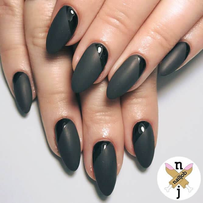Matte acrylic nails with just a hint of gloss - all black design