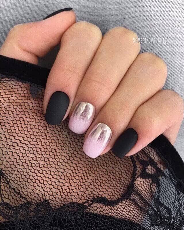 Matte Black and Pink Chrome Ombre Nails