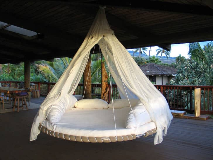 Hanging Tropical Paradise Round Hammock Bed
