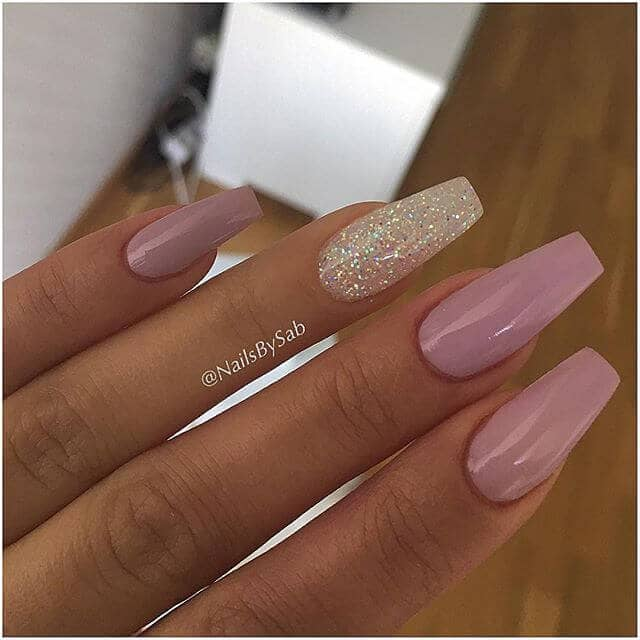 Perfectly Mauve Nails With Gold Glitter Accent