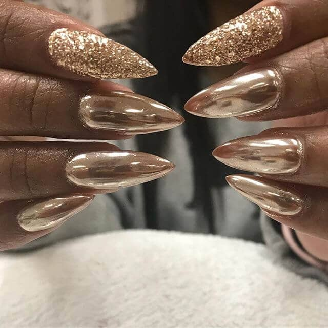 Gold Chrome Accented with Gold Glitter