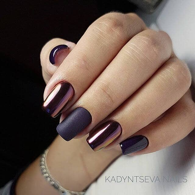Shiny Nails with Matte Accents