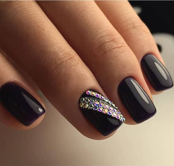 Classic Black Nails with Crystal Embellishments