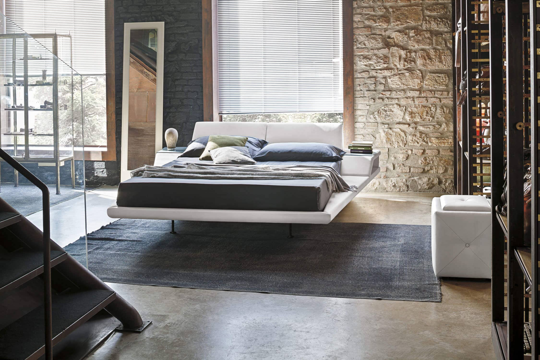 Minimalist White Bed With Side Storage