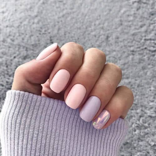 Pale Pastel Nail Polish Idea with Pearly Accents