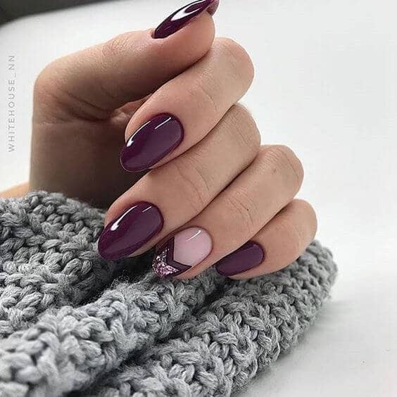 Deep Purple Nails and Chevron Glitter Accents