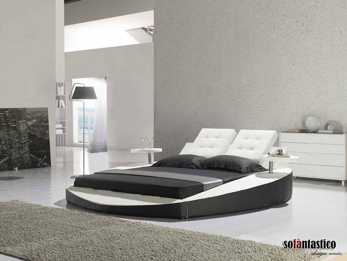 Low Profile Rectangle-in-a-circle White and Black Bed