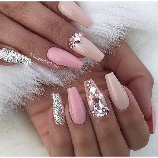 Pink Glitter and Gemstone Nail Art Designs