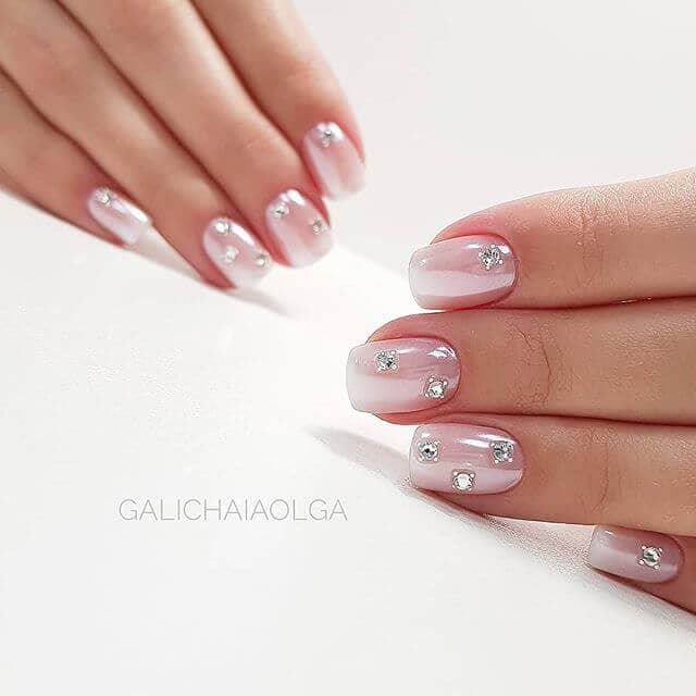 Pale Pink Mallow Nails with Crystals