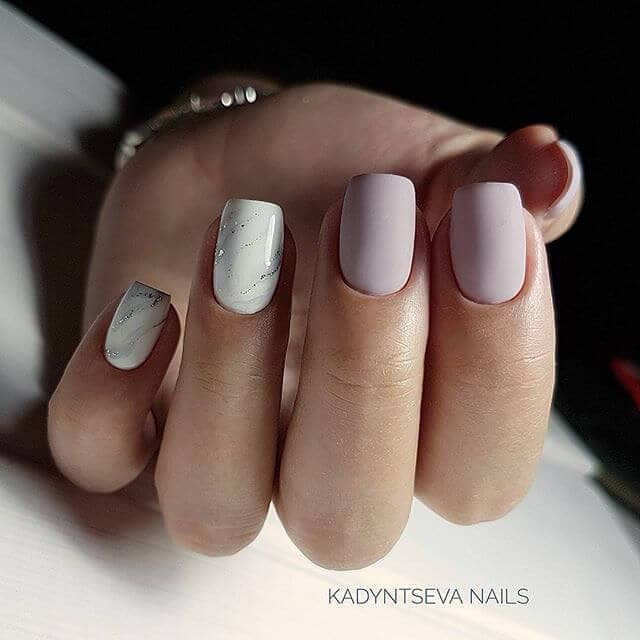 Matte and Marble Nails Look Great Together