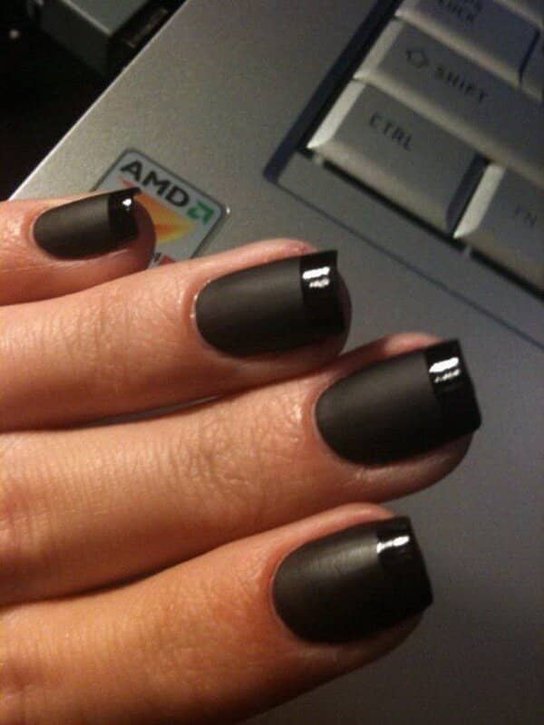All black french manicure style