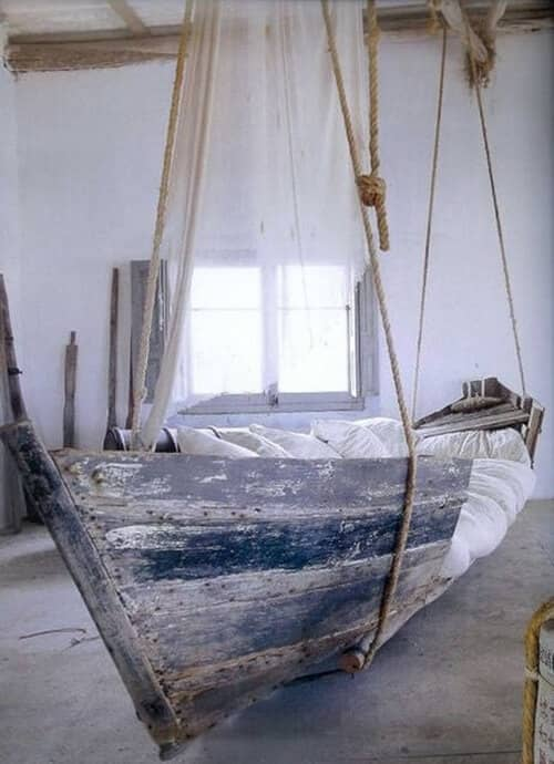 Converted Antique Wooden Boat Couch
