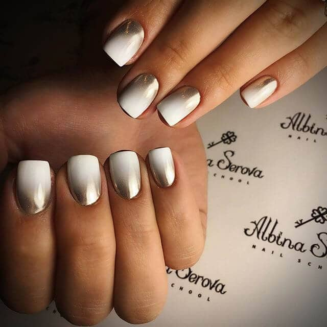 White Nails with Metallic Ombre