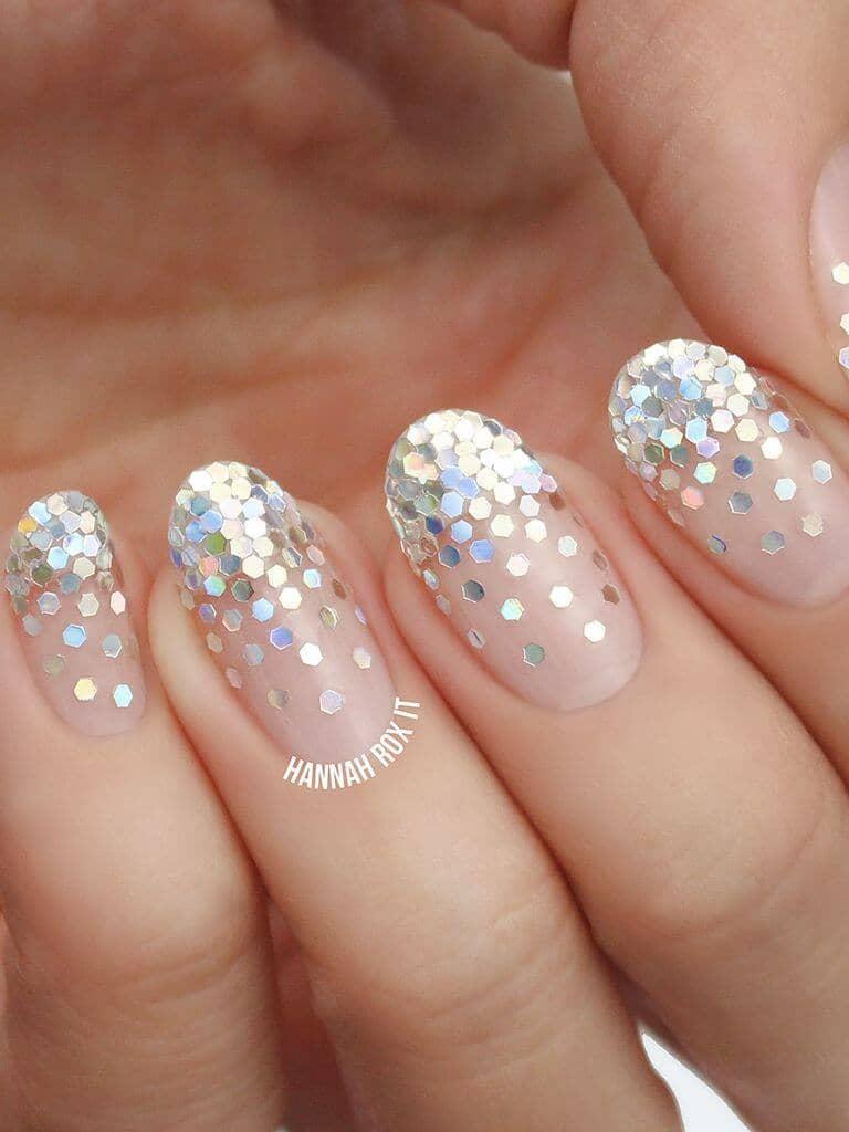 Natural Nails With Hexagonal Glitter Nail Art