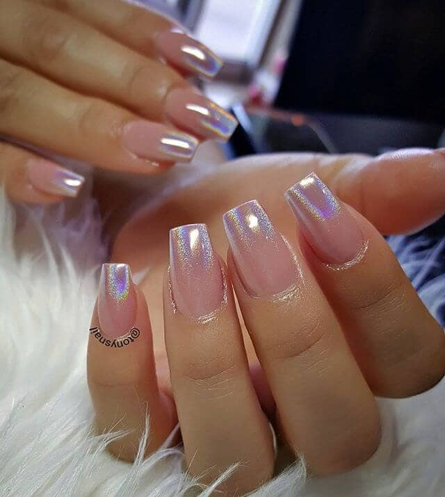 Sheer Baby Pink Satin to Chrome Ombre