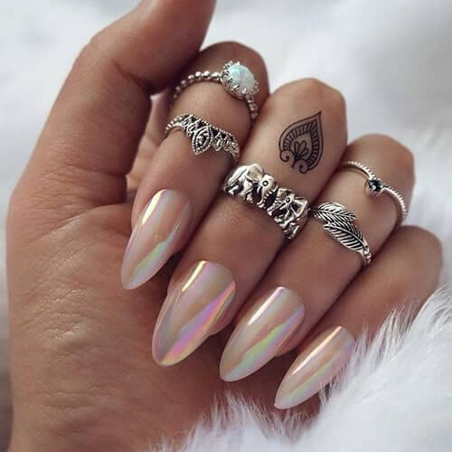 Long Iridescent White Opal Nails