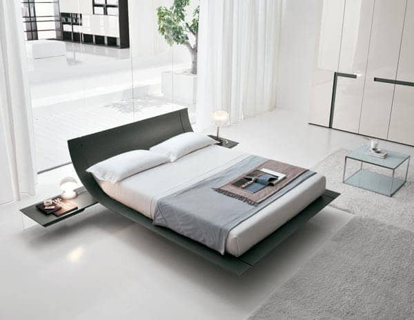 Contemporary Black Bed With Curved Headboard