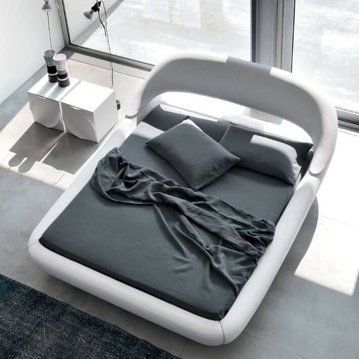White Recessed Platform Bed With Curved Headboard