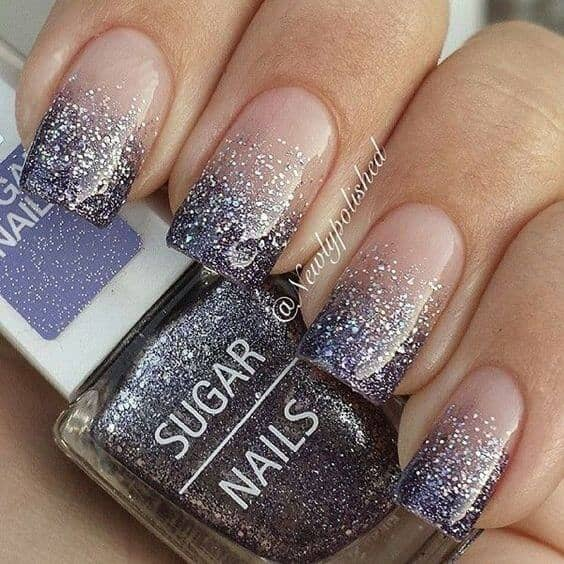 Neutral Nails With Plum Glitter Ombre