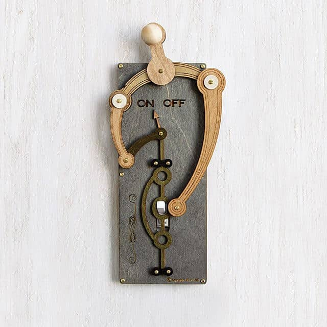 Steampunk Style Laser-cut Mechanical Light Switch.