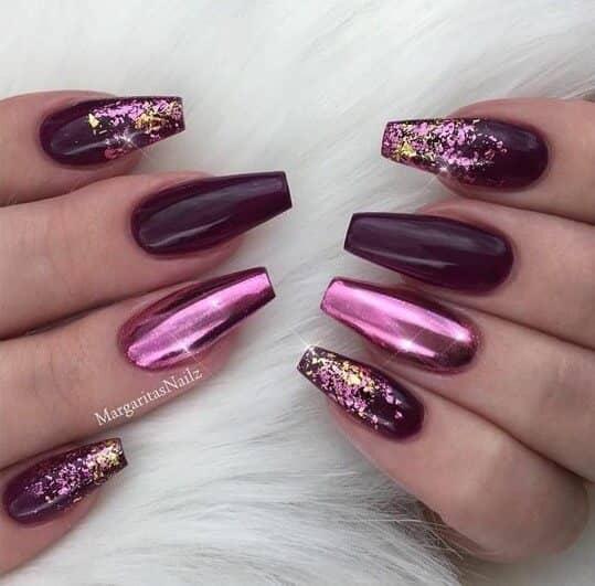 Dark Purple with Pink Metallic Foil