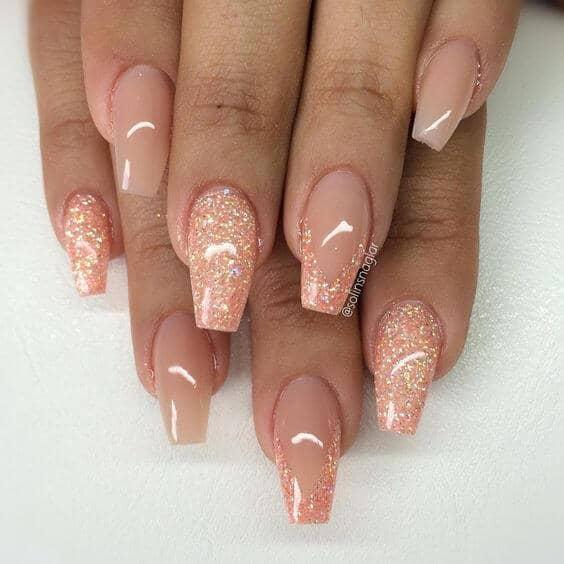Beautiful Neutral Cream With Peach Glitter Accents