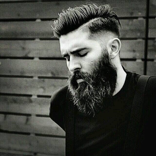 Short Undercut with a Hard Part and Beard
