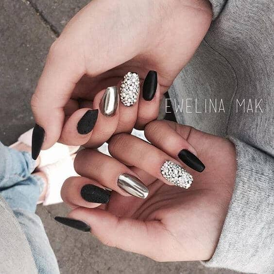 Black and Silver Matte and Metallic Nails