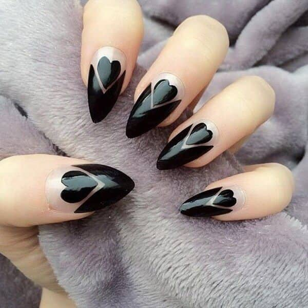 Queen of Hearts pointed nails with heart designs