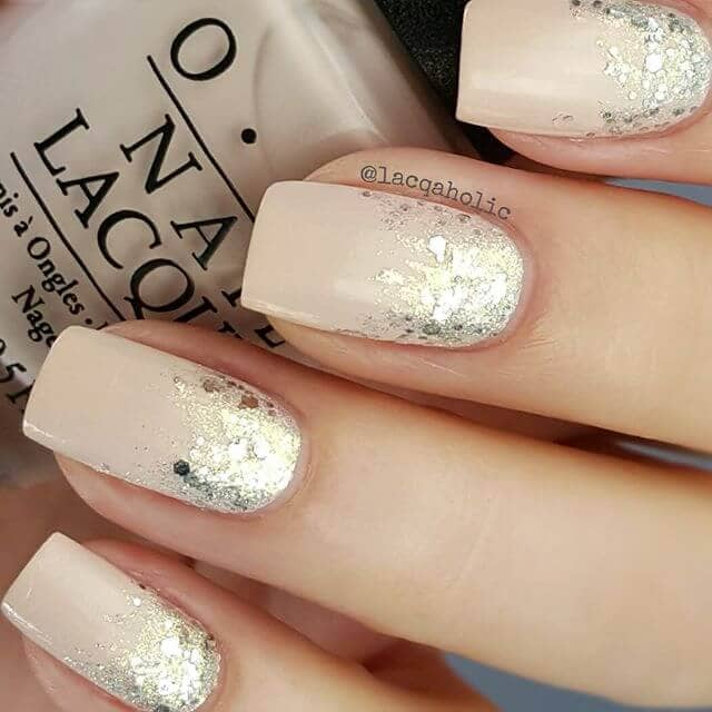 Neutral Ivory Cream Gilded Glitter Ombre Nails