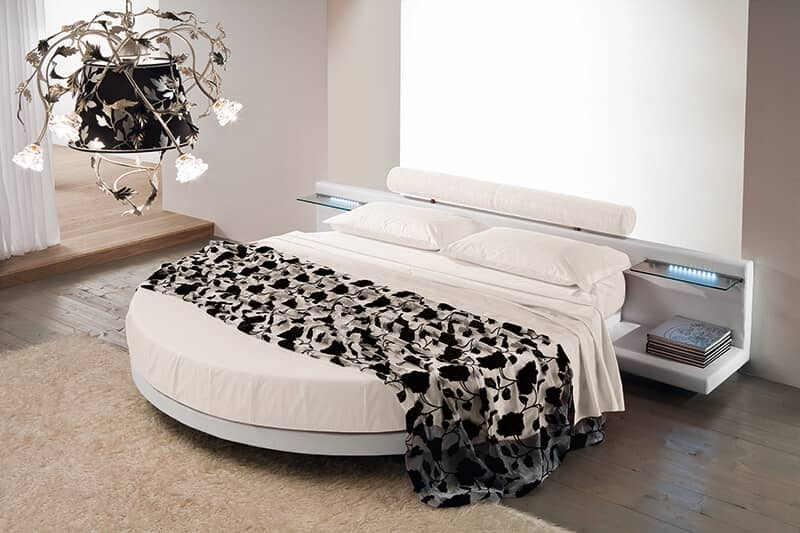 Round Bed With Night Stands and Lights