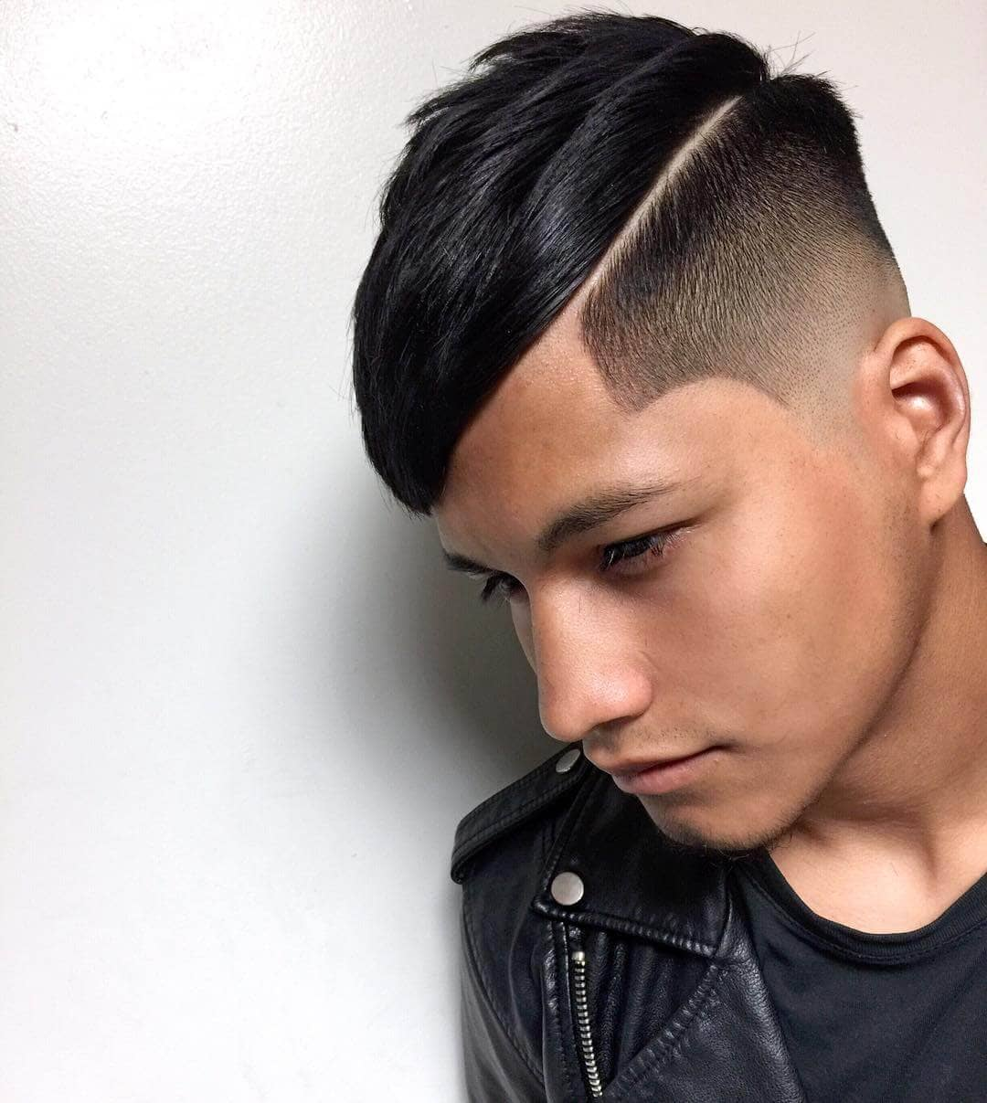 Side Swept Fringe Style with Skin Fade