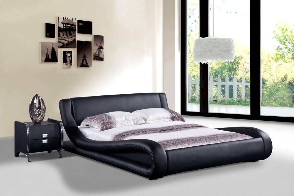 Leather Finish Black Bed With Contemporary Curves