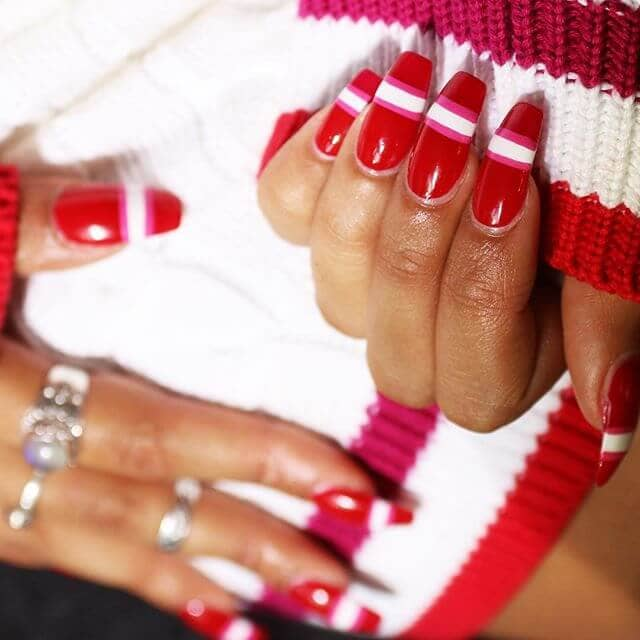 Sporty Pink, White, And Red Nails
