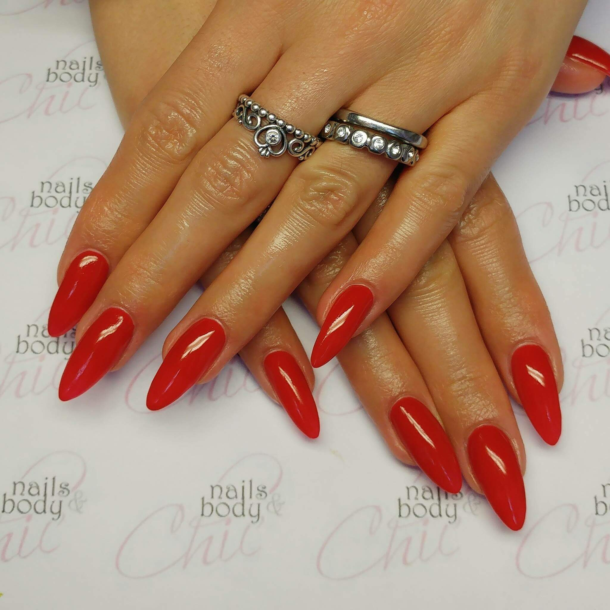 Classic Red Long Acrylic Nails
