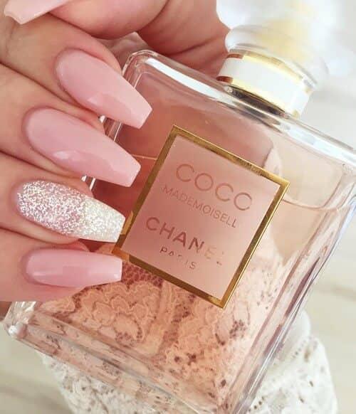 Diamonds And Tiaras Long Pink Nail Design