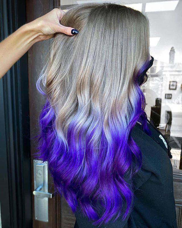 Gray And Purple Balayage Waves