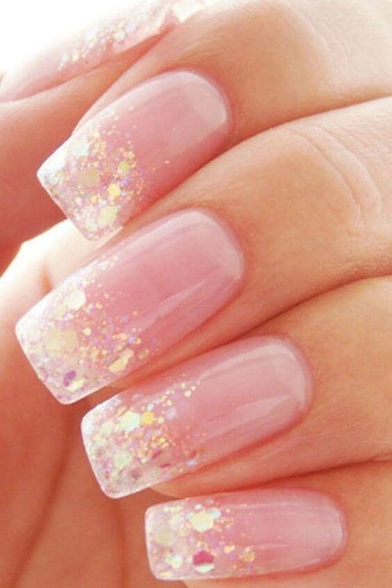 Irridescent Confetti Tips With Baby Pink Nails