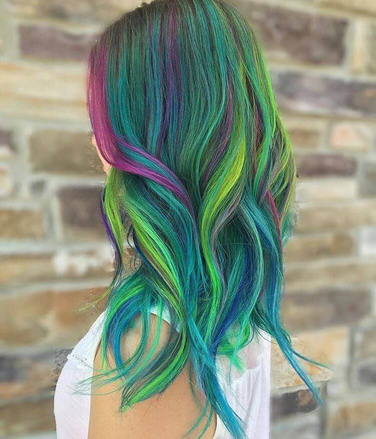 Green and Blue with Purple Highlights